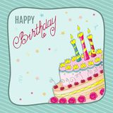 Birthday card with doodle cake, three candles into frame Stock Image