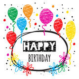 Birthday card in doodle style. Stock Images
