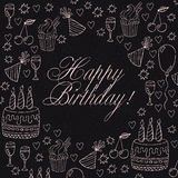 Birthday card doodles composition. Birthday doodles like birthday party symbols vector set on black background plus space for text Royalty Free Stock Photography