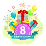 Birthday card eight year. Birthday party flat vector cartoon greeting card. Fireworks, confetti and hanging sparkling serpentine. Balloons, cake, gifts and Royalty Free Stock Images