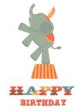 Birthday card with elephant Stock Photography