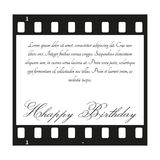 Birthday card with filmstrip. Vector Birthday card with filmstrip and black text Stock Photography