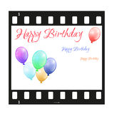 Birthday card with filmstrip. Vector Birthday card with filmstrip and colorful balloons Stock Images