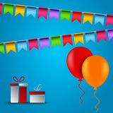 Birthday card with flags balloons and gifts Royalty Free Stock Image
