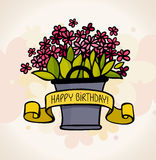 Birthday card with flower Stock Image