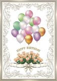 Birthday card with a flowers and balloons. In a frame with ornaments Stock Photos