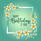 Birthday card with frame decorated with flowers and vintage retro background. Birthday card with frame decorated with flowers and vintage retro background Stock Image