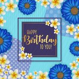 Birthday card with frame decorated with flowers and vintage retro background. Birthday card with frame decorated with flowers and vintage retro background Royalty Free Stock Photo