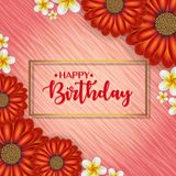 Birthday card with frame decorated with flowers and vintage retro background. Birthday card with frame decorated with flowers and vintage retro background Stock Photos
