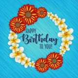 Birthday card with frame decorated with flowers and vintage retro background. Birthday card with frame decorated with flowers and vintage retro background Royalty Free Stock Image