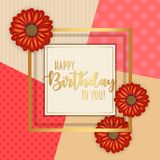 Birthday card with frame decorated with flowers and vintage retro background. Birthday card with frame decorated with flowers and vintage retro background Royalty Free Stock Photos