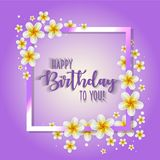Birthday card with frame decorated with flowers and vintage retro background. Birthday card with frame decorated with flowers and vintage retro background Royalty Free Stock Photography