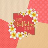 Birthday card with frame decorated with flowers and vintage retro background. Birthday card with frame decorated with flowers and vintage retro background Royalty Free Stock Images