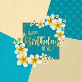 Birthday card with frame decorated with flowers and vintage retro background. Birthday card with frame decorated with flowers and vintage retro background royalty free illustration