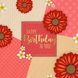 Birthday card with frame decorated with flowers and vintage retro background. Birthday card with frame decorated with flowers and vintage retro background Stock Photography