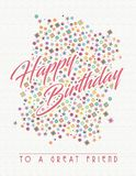 Birthday Card for Friend. Birthday Card Art for Friend Happy Birthday Greeting Vector Colors Pastels Paper Fun great friendship birth day royalty free illustration