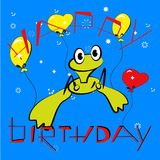 Birthday card with frog Stock Image