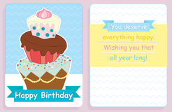 Birthday card,front and back design with big colored cake. And message on a white-yellow-blue background Royalty Free Stock Photos