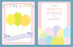 Birthday card,front and back design with colored balloons. On a white and pink background Stock Photos
