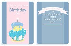 Birthday card,front and back design with colored cake. On a pink and grey background Royalty Free Stock Images