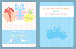 Birthday card,front and back design with colored presents. On cream and blue background Royalty Free Stock Image