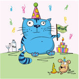 Birthday card, funny cartoon friends Royalty Free Stock Photo