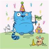 Birthday card, funny cartoon friends. Celebrating Royalty Free Stock Photo