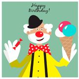 Birthday card with funny clown with ice cream and candy. EPS 10 Stock Image