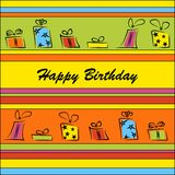Birthday card. Funny birthday card with gifts Stock Images