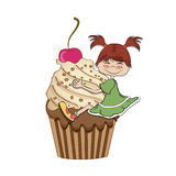 Birthday card with funny girl. Perched on cupcake Stock Photography