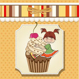 Birthday card with funny girl Stock Image
