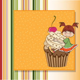 Birthday card with funny girl Stock Photography