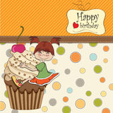 Birthday card with funny girl Royalty Free Stock Images