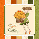 Birthday card with funny girl and cupcake Royalty Free Stock Photography