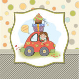 Birthday card with funny little girl Royalty Free Stock Image