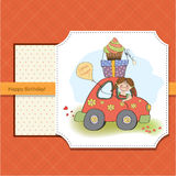 Birthday card with funny little girl Stock Images