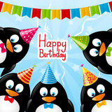 Birthday card. With funny penguins royalty free illustration