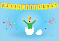 Birthday card. Funny birthday card in a simple style Royalty Free Stock Photo