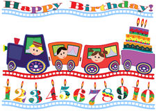 Birthday card. Birthday card with funny train , children and cake Stock Image