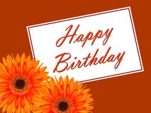 Birthday card with a gerbera flower Stock Images