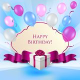 Birthday card with gift box and baloons stock illustration