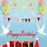 Birthday card with gift box and birds Royalty Free Stock Photography