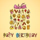 Birthday card with gift box Royalty Free Stock Photo