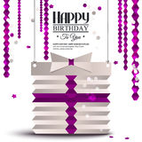 Birthday card with gift box in the style of flat. Vector birthday card with gift box in the style of flat folded paper Royalty Free Stock Image
