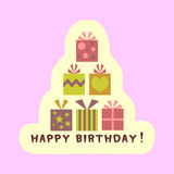 Birthday card with gift boxes Stock Photos
