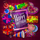 Birthday card with gift boxes, cocktails Royalty Free Stock Image
