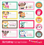 Birthday card, gift tags and sticker Stock Photo