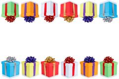 Birthday card gifts christmas presents copyspace copy space boxes isolated on white stock images
