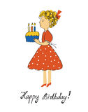 Birthday card with girl and cake for a child Royalty Free Stock Images