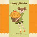 Birthday card with girl and cupcake Stock Photo